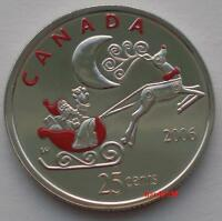 🎅 2006 P 25 cents Santa Claus and Rudolph colorized - Brilliant Unc