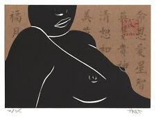Female figure print hand printed linocut woodblock print and Chinese calligraphy