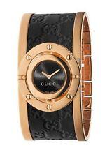 New Gucci YA112438 Twirl Rose Gold-Tone Guccissima Leather Bangle Women's Watch