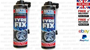 2 X EMERGENCY FIX TYRE QUICKLY SEAL & INFLATE TYRE 300ML AUTO EXTREME*UK SELLER*