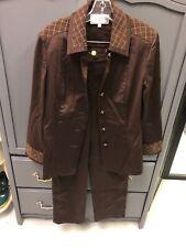 St. John Sport By Marie Gray Womens Pant Suit Brown Jacket Sz S Pants Sz 6