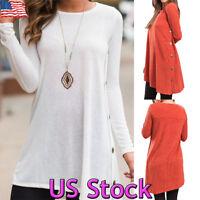 Women's Casual Long Sleeve Loose Tunic Top T-Shirt Round Hem Mini Dress Blouse