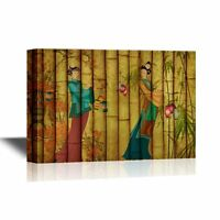 wall26 - Canvas Wall Art -Ancient Chinese Woman on Bamboo Style Background-12x18