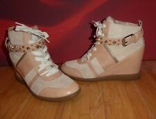 *24* BROWN BEIGE LEATHER  SUEDE ANKLE  PLATFORM STUDDED BOOTS TRAINERS UK 7