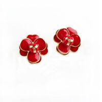 Boucles d'Oreilles Clous Doré Puces Fleur Rose Email Rouge Retro NN6