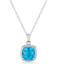 "18K White Gold GB Simulated Cushion Cut Aqua & Diamond Necklace 20"" Inches G92"