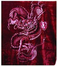 Solaron Korean Blanket Thick Mink Plush queen Dragon snake Original throw Red