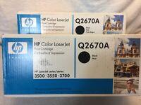 Lot of 2 HP Q2670A Black Laserjet 3500 3550 3700 GENUINE Toner Cartridge (2238)