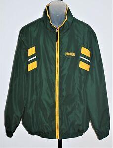 Reebok NFL Green Bay Packers Windbreaker Jacket Size L Zip Up Lightweight Logo