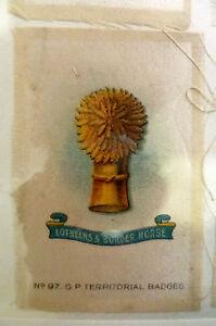 B.D.V. Cigarettes Silk- LOTHIANS & BORDER HORSE G P Territorial Badges (7x5 cm)