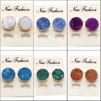 Quartz Crystal Druzy Stud Women Round Natural Agate Geode Vug Gemstone Earrings