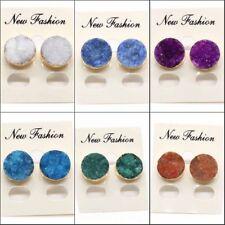 Natural Agate Geode Vug Titanium Coated Quartz Crystal Druzy Women Stud Earrings