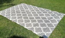 Moroccan OUTDOOR Quatrefoil RECYCLED Geometric SILVER WHITE Area Rug 6 x 10 NEW