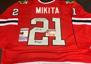Stan Mikita Blackhawks Autographed Signed Jersey JSA COA Imperfect