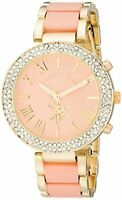 Accutime Watch Corp. U.S. Polo Assn. Womens Gold-Tone and Pink Bracelet