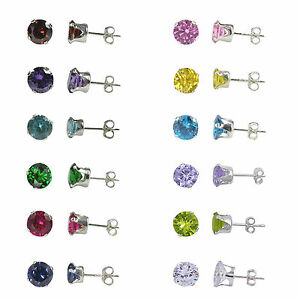 Sterling Silver Round CZ Cubic Zirconia Stud Post Earrings