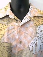 Cubavera Mens Shirt Large Linen Blend Peach Lt. Orange Brown Leaves Button Front
