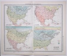 1899 WEATHER METEOROLOGY MAP ISOTHERMS NORTH AMERICA DISTRIBUTION TEMPERATURE