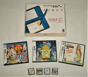 Nintendo DSi XL Blue w/ Box Stylus & Games VG Condition Video Game
