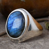 Solid 925 Sterling Silver Labradorite Gemstone Ring Mens Ring Father Gift  M6
