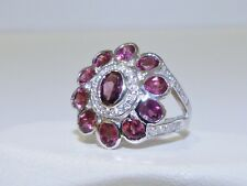 GENUINE 2.96cts Rhodolite Garnet Oval Cut Ring, Solid Sterling Silver 925!