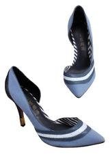 L.A.M.B. Stiletto Heels Denim Blue Stripe Snakeskin Gwen Stefani Women's 9.5