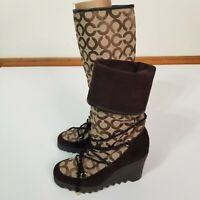Coach Womens Brown Maisy Canvas Rubber Logo Wedge Heel Lace Up Boots Size 6 B