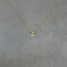 Mustache Hat GOLD Plated Necklace Adjustable Handmade Charm Pendant Hipster Hip