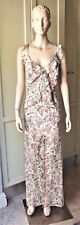 TOPSHOP Maxi Dress Backless Floral Ruffle Pastel Chiffon, w/Slip Lining Size 12