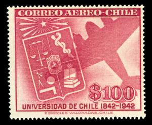 CHILE 1942 AIRMAIL - University of Chile 100pesos Scott # C89 mint MNH**  VF
