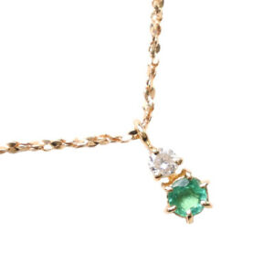Necklace K18 yellow gold/diamond/Emerald Women