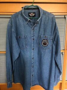 Harley Davidson Soft Denim Long Sleeved Shirt mens size 2XL