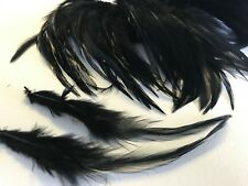 20 BLACK Rooster Feathers 9-15cm DIY Craft Millinery Fly Tying Dream Catcher