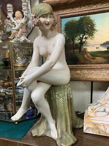 ROYAL DUX ART DECO PORCELAIN NUDE GIRL ON A CHAIR
