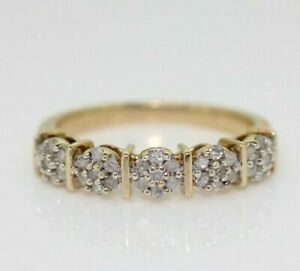 9ct Yellow Gold 0.25ct Diamond Eternity Cluster Ring Size L, US 5 3/4