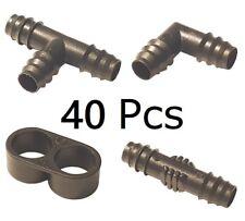 40PCS Goteo Riego Kits Para 16mm 1.3cm Tubería Micro Tubo Conector de Manguera