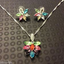SET Multi colour Swarovski elements matching WHITE GOLD F necklace earrings PLUM