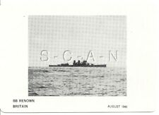 WWII Double Sided Recognition Photo Card- Navy Battleship BB Renown- August 1944