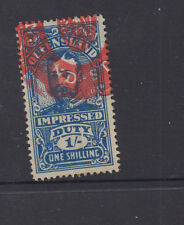 QUEENSLAND 1920 1/- Blue GV IMPRESSED DUTY -wmk sideways- FU