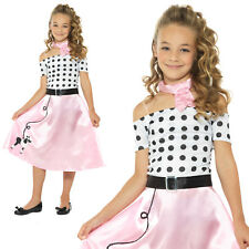 50s Poodle Girls Costume Rock n Roll Childrens Kids 1950s Fancy Dress Outfit
