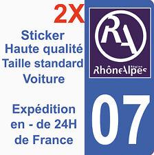 Sticker autocollant vinyle immatriculation département 07 Région Rhône Alpes HQ