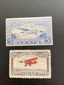 CANADA- 2 semi-official airs 1928-9: British Columbia CL44 & Cherry Red CL46