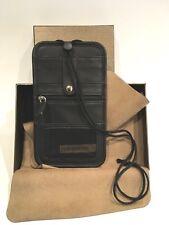 Leatherology Black Leather Passport Neck Wallet New IOB