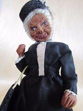New listing Vtg Folk Art Primitive Apple Head Woman Doll Black Dress Pillbox Hat Veil Purse