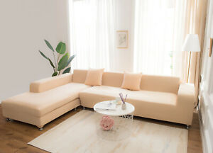 Silk 2-Seater Sofa Covers Set Stretch Beige Slip Cover Set Living Room Sectional