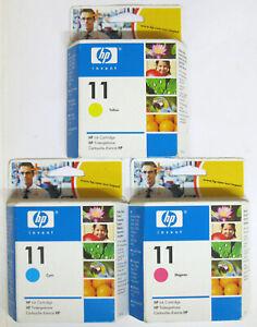 Hewlett Packard / HP 11 / HP11 Genuine Cyan, Magenta & Yellow Set. BNIB / Sealed