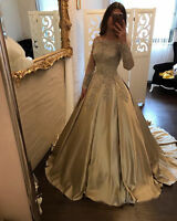 Long Sleeve Satin Quinceanera Dress Prom Party Formal Evening Ball Gown Custom