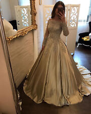 Gold Long Sleeve Satin Quinceanera Dress Party Formal Evening Ball Gown Custom