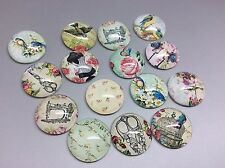 16mm Glass Cabochons x 15pcs Round Vintage Sewing Birdcage Mixed Image Cameo