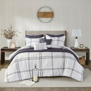 Farmhouse Grey Plaid Seersucker Comforter Coverlet 8 pcs Cal King Queen Set New